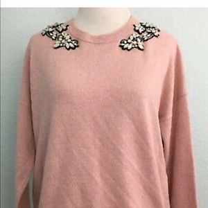 J CREW OPAL EMBELLISHED SWEATER PINK WOOL BLEND
